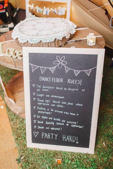 Chalkboard Dance Floor Rules