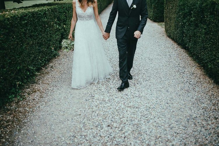 Bride & Groom in Flora Wedding Dress & Italian Suit