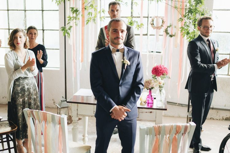 Groom at the Altar in Navy Suit & Bow Tie   Pastel Wedding at Tommy Vitello, Italy   Planning & Styling by Agnese Sogna Sempre   Matrimoni all'Italiana Photography   Amu Wedding Videos