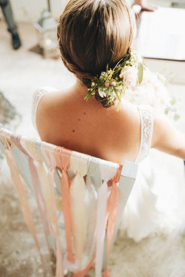 Ribbon Chair Back   Bridal Up Do   Pastel Wedding at Tommy Vitello, Italy   Planning & Styling by Agnese Sogna Sempre   Matrimoni all'Italiana Photography   Amu Wedding Videos
