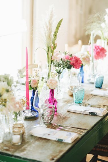 Coloured Vases with Flower Stems   Pastel Wedding at Tommy Vitello, Italy   Planning & Styling by Agnese Sogna Sempre   Matrimoni all'Italiana Photography   Amu Wedding Videos