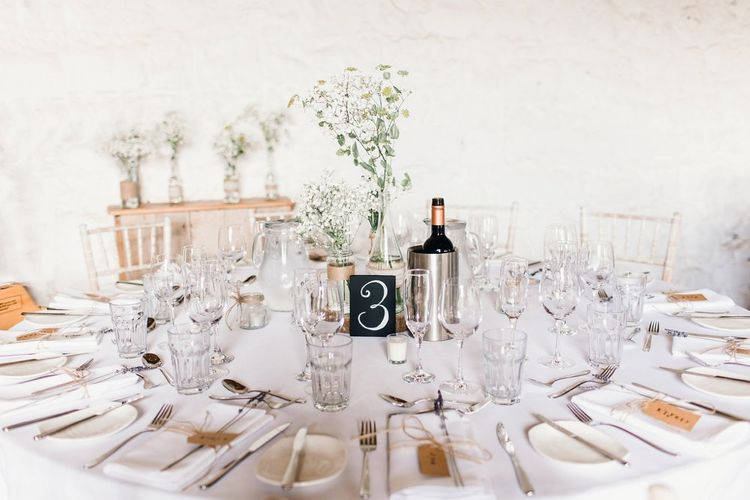 Light and Bright table decor | Askham Hall | Photography by Jessica Reeve.