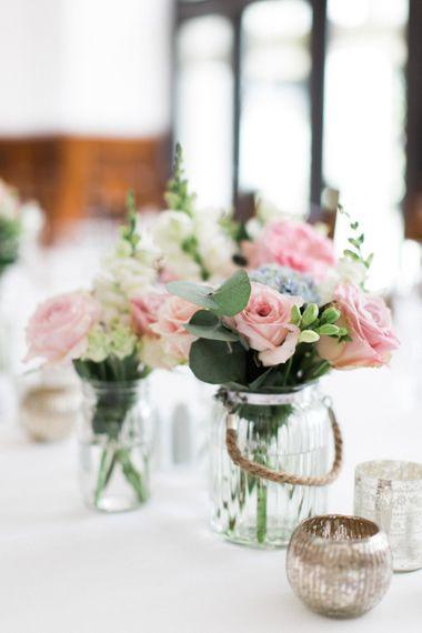 Pastel Flower in Jars Wedding Decor
