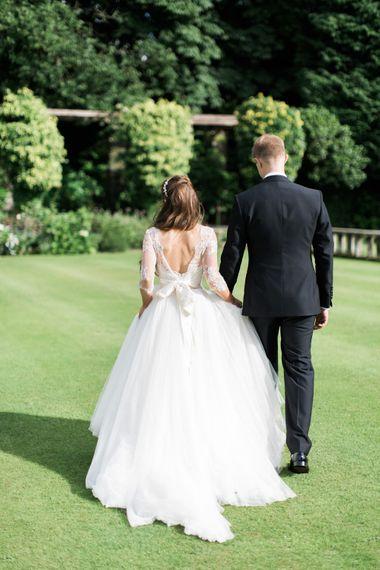 Romantic Country Garden Bride & Groom Portrait