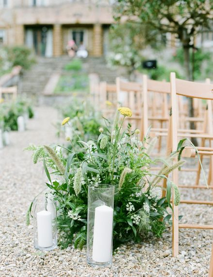Foliage Aisle Flowers | Classic Green & White Outdoor Country Wedding at Voewood in Norfolk, Planned & Styled by Vanilla Rose Weddings & Events | Julie Michaelsen Photography