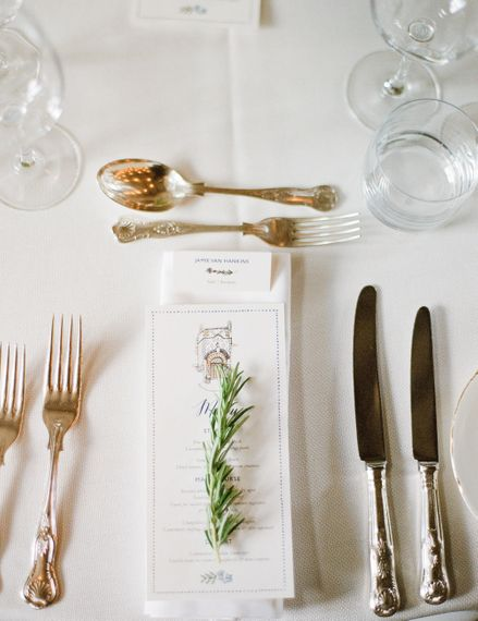 Place Setting | Classic Green & White Outdoor Country Wedding at Voewood in Norfolk, Planned & Styled by Vanilla Rose Weddings & Events | Julie Michaelsen Photography