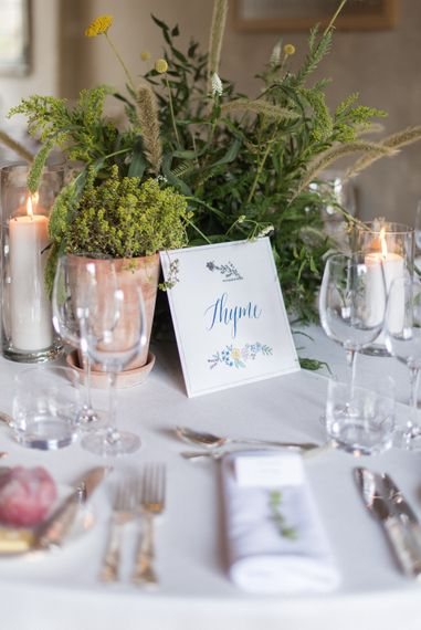 Herd Table Names & Centrepieces | Classic Green & White Outdoor Country Wedding at Voewood in Norfolk, Planned & Styled by Vanilla Rose Weddings & Events | Julie Michaelsen Photography