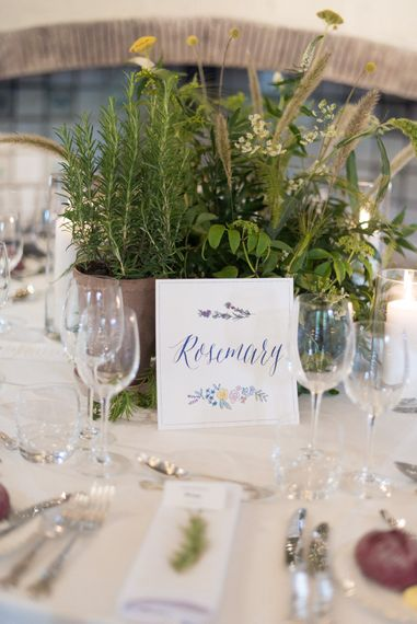 Herb Table Names & Centrepieces | Classic Green & White Outdoor Country Wedding at Voewood in Norfolk, Planned & Styled by Vanilla Rose Weddings & Events | Julie Michaelsen Photography