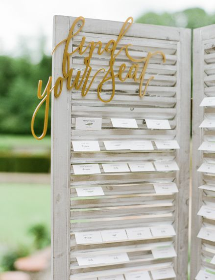 Shutter Table Plan | Classic Green & White Outdoor Country Wedding at Voewood in Norfolk, Planned & Styled by Vanilla Rose Weddings & Events | Julie Michaelsen Photography