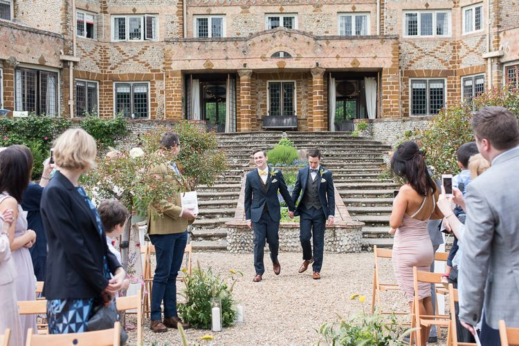 Wedding Ceremony | Grooms in Walker Slater Suits | Classic Green & White Outdoor Country Wedding at Voewood in Norfolk, Planned & Styled by Vanilla Rose Weddings & Events | Julie Michaelsen Photography