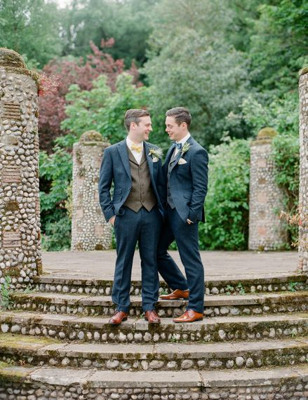Grooms in Walker Slater Suits | Classic Green & White Outdoor Country Wedding at Voewood in Norfolk, Planned & Styled by Vanilla Rose Weddings & Events | Julie Michaelsen Photography