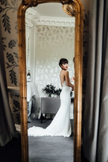 Bride Getting Ready in Illusion Back Martina Liana Bridal Gown | Modern Hall London | Beatrici Photography