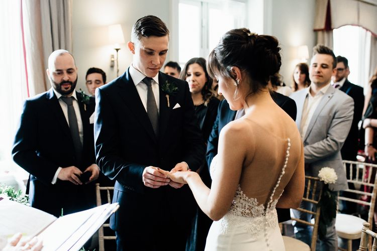 Wedding Ceremony | Bride in Illusion Back Martina Liana Bridal Gown | Groom in Gieves & Hawkes Suit | Modern Hall London | Beatrici Photography