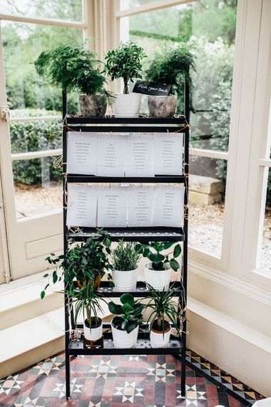 Planter Table Plan | Stylish White, Greenery & Copper Wedding at Morden Hall in London | Beatrici Photography