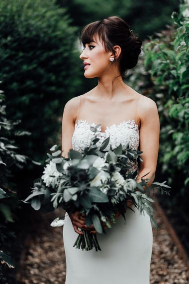 White Rose & Foliage Bouquet | Bride in Illusion Back Martina Liana Bridal Gown | Beatrici Photography