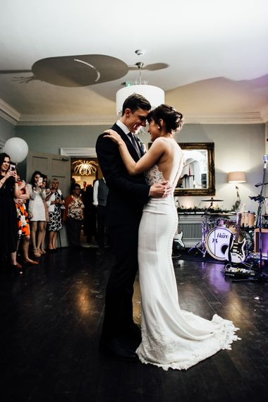 First Dance | Bride in Illusion Back Martina Liana Bridal Gown | Groom in Gieves & Hawkes Suit | Modern Hall London | Beatrici Photography