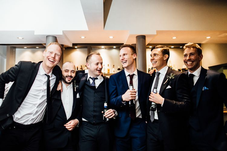 Groomsmen in Gieves & Hawkes Suits | Modern Hall London | Beatrici Photography