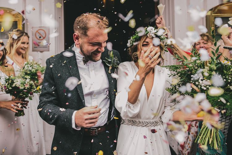Confetti Moment | Bride & Groom | Elizabeth Dye Bridal Gown | Marc Darcy Suit | Steven Haddock Photography