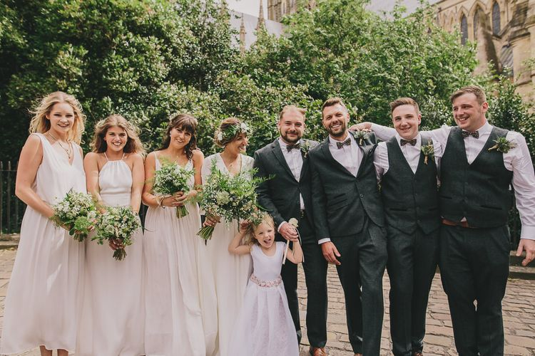 Wedding Party | White Bridesmaids | Bride in Bride & Groom | Elizabeth Dye Bridal Gown | Marc Darcy Suit | Steven Haddock Photography
