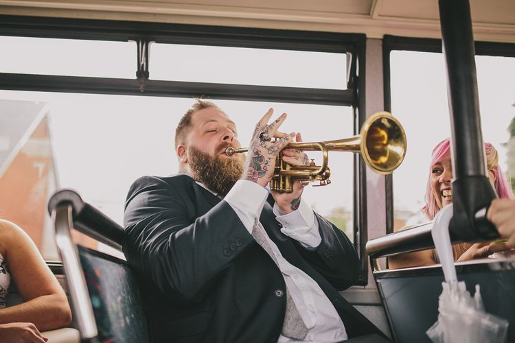 Wedding Guest Playing Trumpet | Steven Haddock Photography