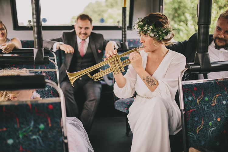 Bride Playing Trumpet | Elizabeth Dye Bridal Gown | Steven Haddock Photography