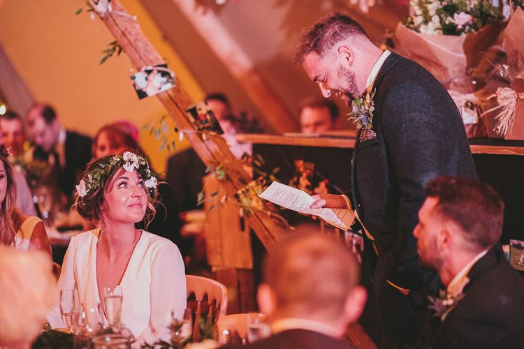 Speeches | Rustic Tipi Wedding Reception | Steven Haddock Photography