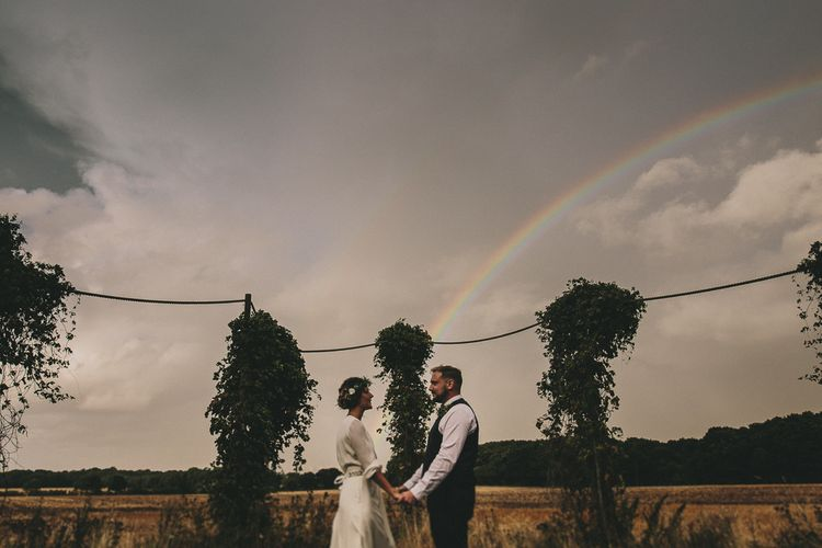 Rainbow | Bride & Groom | Elizabeth Dye Bridal Gown | Marc Darcy Suit | Steven Haddock Photography