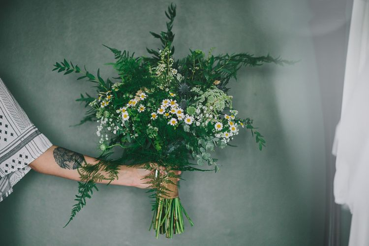 Organic Greenery Wedding Bouquet | Steven Haddock Photography