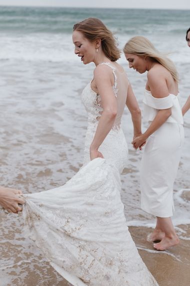 Bridesmaids In White Structured Dresses By Lavish Alice
