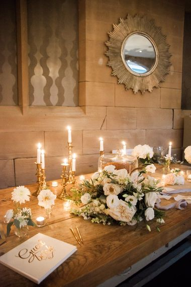 Candle Light Guest Book Table   Elegant Hampton Manor Wedding with Floral Decor   Xander & Thea Fine Art Wedding Photography