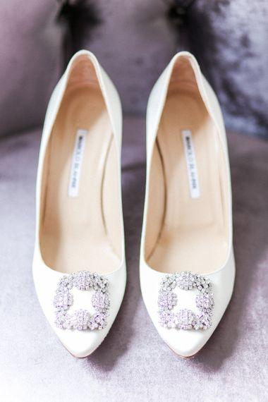 Ivory Manolo Blahnik Hangisi Pumps   Elegant Hampton Manor Wedding with Floral Decor   Xander & Thea Fine Art Wedding Photography