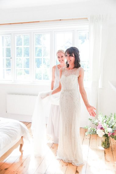 Getting Ready   Bride in Hermia Jenny Packham Gown   Elegant Hampton Manor Wedding with Floral Decor   Xander & Thea Fine Art Wedding Photography