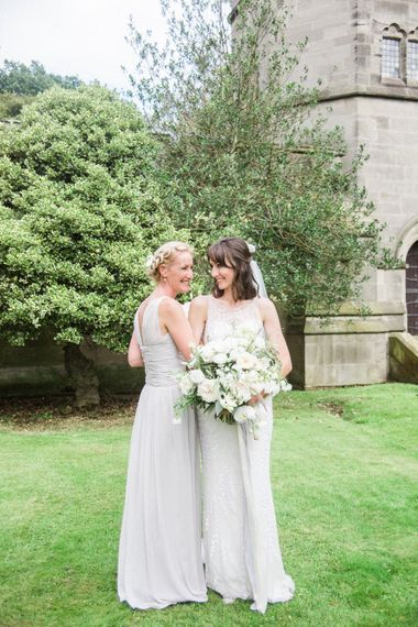 Bridesmaid in Grey Dessy Dresses   Bride in Jenny Packham   Elegant Hampton Manor Wedding with Floral Decor   Xander & Thea Fine Art Wedding Photography