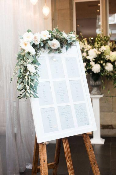 Table Plan with Flower Garland   Elegant Hampton Manor Wedding with Floral Decor   Xander & Thea Fine Art Wedding Photography