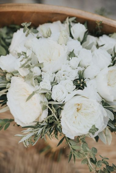 Pure White Bridal Bouquet | Outdoor Pastel Destination Wedding at Agreco in Greece | Best Moments Wedding Planner | Paulina Weddings Photography