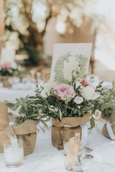 Herb in Hessian Centrepieces | Outdoor Pastel Destination Wedding at Agreco in Greece | Best Moments Wedding Planner | Paulina Weddings Photography
