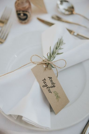 Craft Paper & Herb Place Setting | Outdoor Pastel Destination Wedding at Agreco in Greece | Best Moments Wedding Planner | Paulina Weddings Photography