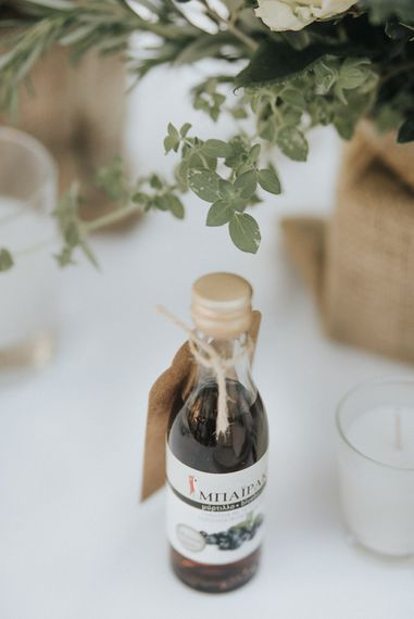 Miniture Alcohol Bottles | Outdoor Pastel Destination Wedding at Agreco in Greece | Best Moments Wedding Planner | Paulina Weddings Photography