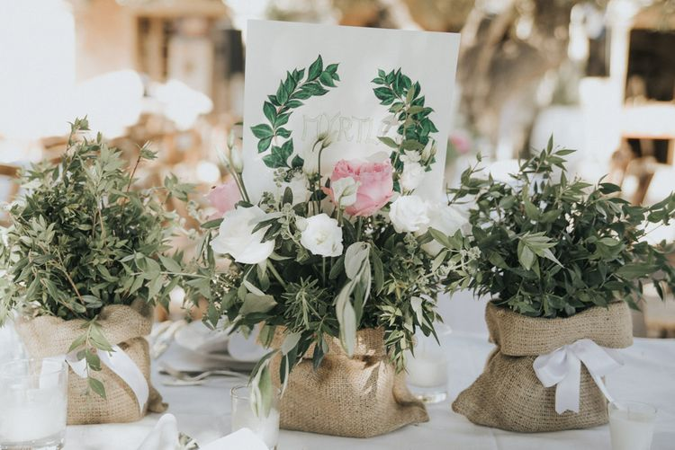 Herb Centrepiece with Hessian Pouches | Outdoor Pastel Destination Wedding at Agreco in Greece | Best Moments Wedding Planner | Paulina Weddings Photography