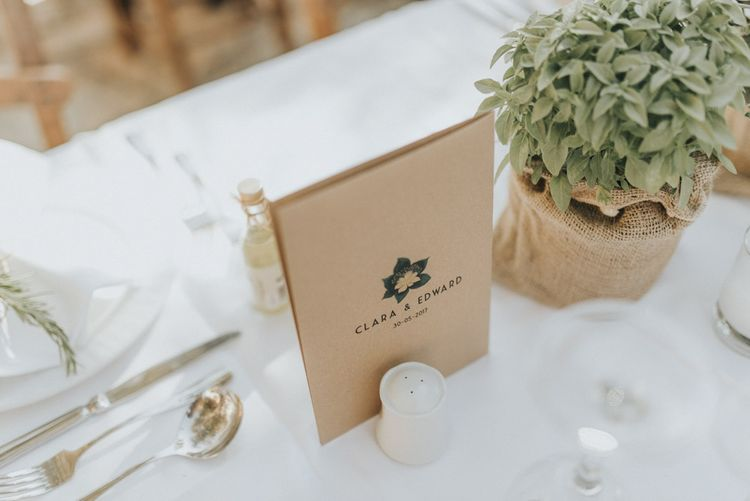 Craft Paper Menu Card | Outdoor Pastel Destination Wedding at Agreco in Greece | Best Moments Wedding Planner | Paulina Weddings Photography