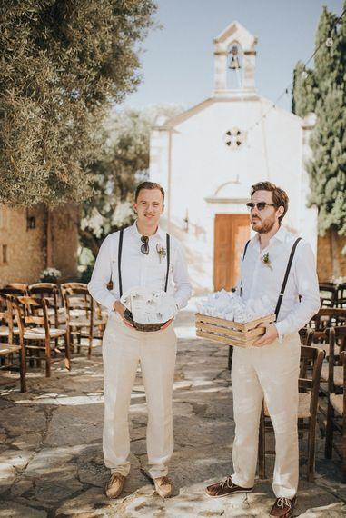 Groomsmen in n Beige Austin Reed Suit | Outdoor Pastel Destination Wedding at Agreco in Greece | Best Moments Wedding Planner | Paulina Weddings Photography