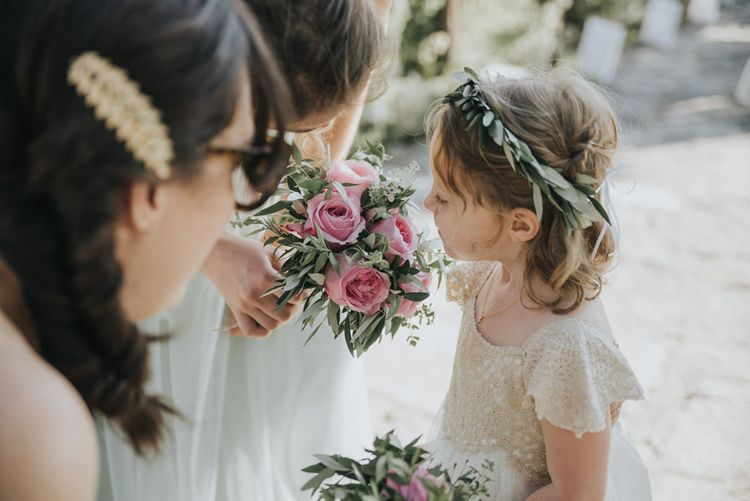 Bridal Party | Flower Girls in Monsoon | Bridesmaids in Pale Green For Her and For Him Gowns | Outdoor Pastel Destination Wedding at Agreco in Greece | Best Moments Wedding Planner | Paulina Weddings Photography