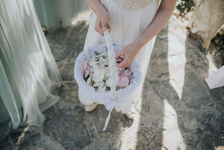 Confetti Basket | Outdoor Pastel Destination Wedding at Agreco in Greece | Best Moments Wedding Planner | Paulina Weddings Photography