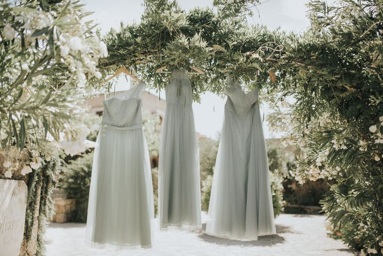 Pale Green For Her and For Him Gowns | Outdoor Pastel Destination Wedding at Agreco in Greece | Best Moments Wedding Planner | Paulina Weddings Photography