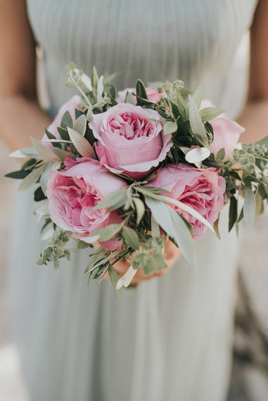 Pink David Austin Rose Bouquet | Bridesmaid in Pale Green For Her and For Him Chiffon Dress | Outdoor Pastel Destination Wedding at Agreco in Greece | Best Moments Wedding Planner | Paulina Weddings Photography
