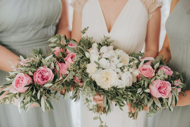 White & Pink Bouquets | Outdoor Pastel Destination Wedding at Agreco in Greece | Best Moments Wedding Planner | Paulina Weddings Photography