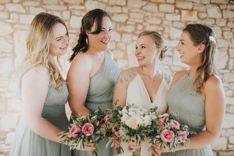 Bridesmaids in Pale Green For Her and For Him Chiffon Dresses | Outdoor Pastel Destination Wedding at Agreco in Greece | Best Moments Wedding Planner | Paulina Weddings Photography