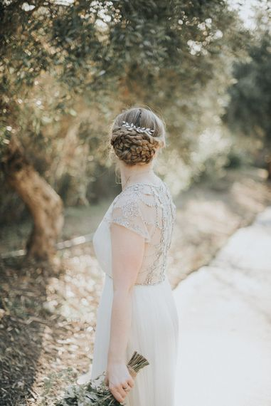 Bridal Braided Up Do | Catherine Deane Gown | Outdoor Pastel Destination Wedding at Agreco in Greece | Best Moments Wedding Planner | Paulina Weddings Photography