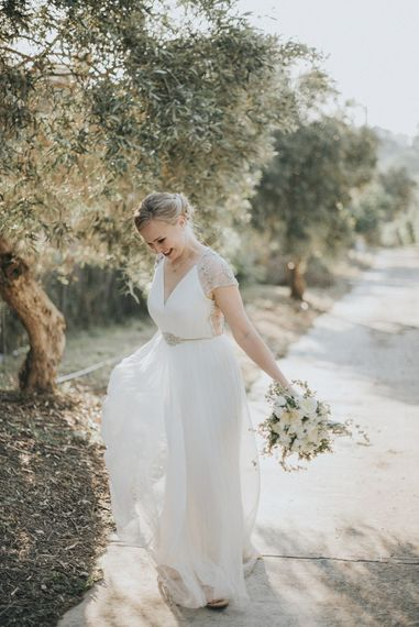 Bride in Catherine Deane Gown | Outdoor Pastel Destination Wedding at Agreco in Greece | Best Moments Wedding Planner | Paulina Weddings Photography