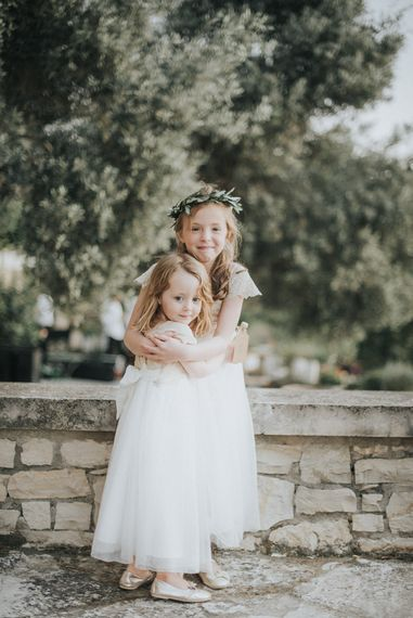 Flower Girls in Monsoon Dresses | Outdoor Pastel Destination Wedding at Agreco in Greece | Best Moments Wedding Planner | Paulina Weddings Photography